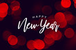 Happy New Year Celebration Text Over Red Duotone Bokeh Lights Background
