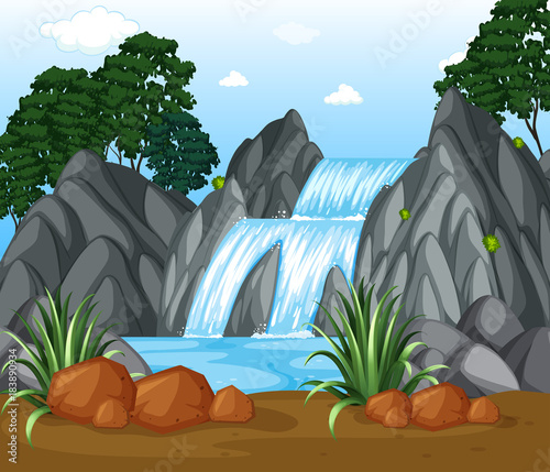 Foto op Canvas Grijs Background scene with waterfall in the woods