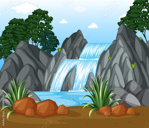 In de dag Grijs Background scene with waterfall in the woods