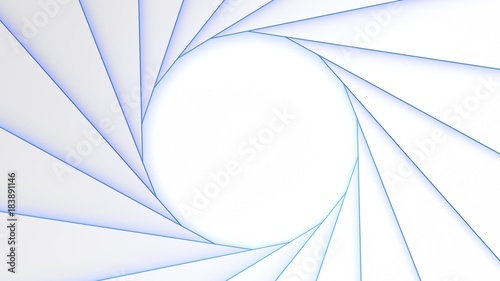 Staande foto Abstract wave Blue Light pattern grid white background. 3d rendering