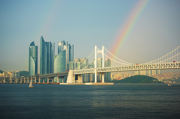 Beautiful rainbow in downtown at Busan,South Korea.