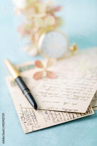 Plexiglas Hydrangea vintage cards and hydrangea flowers