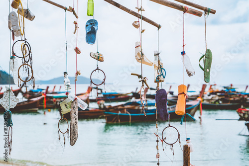 Happy in Life, the decoration of junk garbage from the sea hanging the bamboo tree