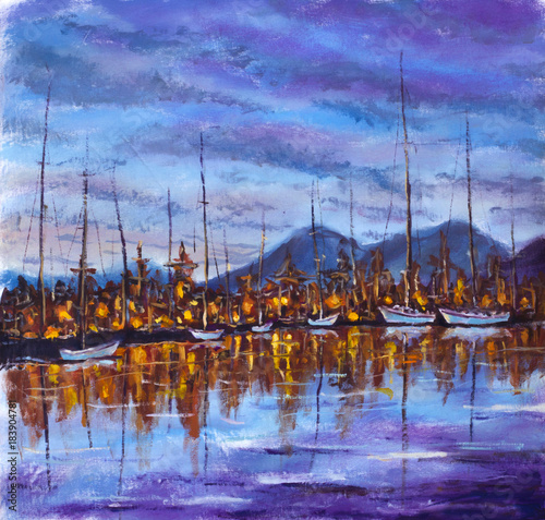 original oil painting Blue violet sunset over island of bay. Niight orange city is reflected in calm water. Yachts are white on dock. illustration Art.