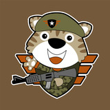 veactor cartoon of funny soldier with rifle