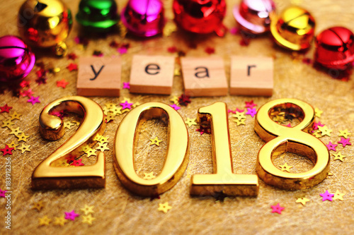 Gold 2018 and colorful decoration.