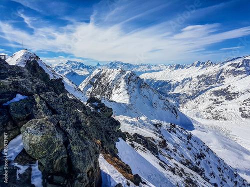 Keuken foto achterwand Blauwe hemel Swiss alps
