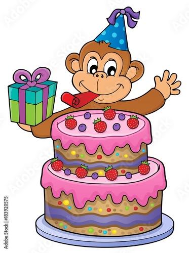 Plexiglas Voor kinderen Cake and party monkey theme 1