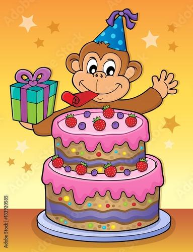 Papiers peints Enfants Cake and party monkey theme 2