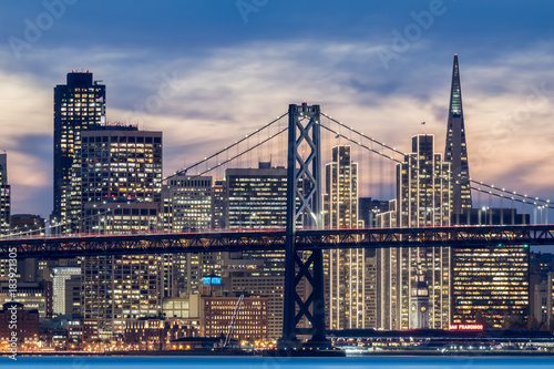 Plagát Bay Bridge and Downtown San Francisco Close-up