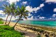 Quadro Lalomanu beach on Samoa Island with tree palm trees, Upolu, South Pacific