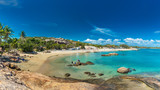 BOWEN, AUS - SEP 18 2017: Horseshoe Bay at Bowen - iconic beach with palm trees, Queensland, Australia - 183921787