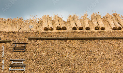 Thatched Roof with Straw and tools