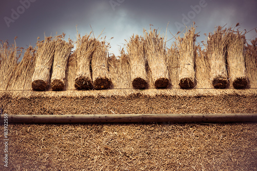 Thatched Roof with Straw and bundle reed