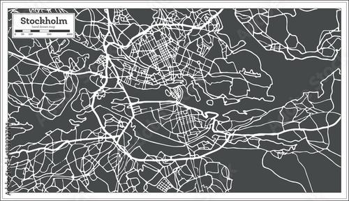 Fototapeta Stockholm Sweden Map in Retro Style.