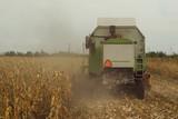 Harvesting corn crop field. Combine harvester working on plantat - 183924935