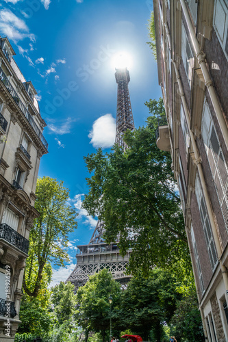 Keuken foto achterwand Eiffeltoren Eiffel tower in the summer time. View from beneath from the nearest street. 28/07/2017 Paris.France.