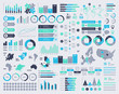 Big set of vector infographic elements with maps and icons.