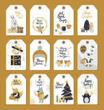 Merry Christmas Colourful Label Badges with Wishes