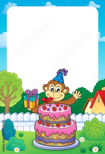Papiers peints Enfants Frame with cake and party monkey theme 1