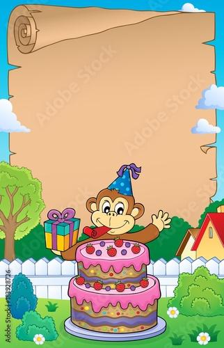 Papiers peints Enfants Parchment with cake and party monkey