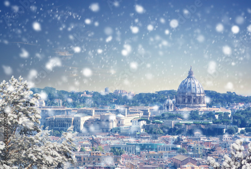 Christmas background : Aerial view of Rome cityscape at winter sunset in Italy. Vintage colored picture. X-mas, Business, Love and travel concept