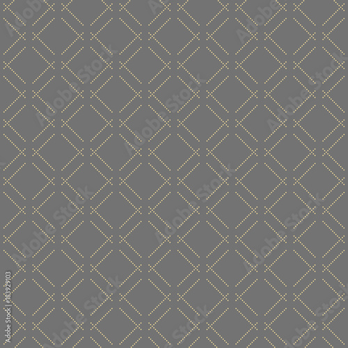 Geometric dotted vector golden dotted pattern. Seamless abstract modern texture for wallpapers and backgrounds - 183929103