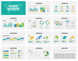 Presentation slides business vector template with maps. - 183934112