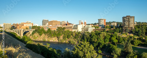Staande foto Panoramafoto s spokane washington city skyline and streets