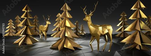 Stilisierte goldene Rentiere und Bäume vor dunklem Hintergrund