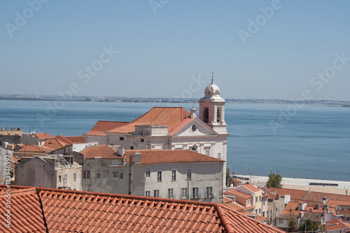 Wall mural view of Lisbon city center particular with curch