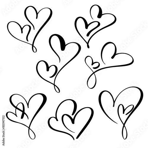 set two lovers heart. Handmade vector calligraphy. Decor for greeting card, mug, photo overlays, t-shirt print, flyer, poster design