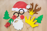 Photo booth colorful props for christmas party - mustache, santa claus, fir tree, glasses, crown, antler, nose, hat