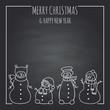 funny snowmen on a black board - 183950505