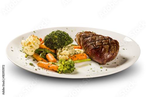 Plexiglas Steakhouse Delicious beef steak wit vegetables