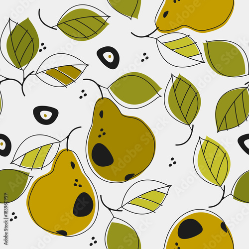 Cute seamless patterns with pears and leaves