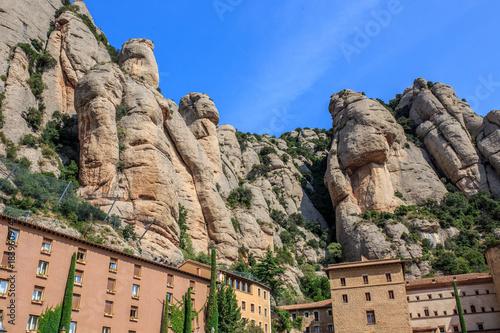 Plexiglas Zalm The Mountain of Montserrat (Catalonia, Spain). Montserrat mountains and Benedictine monastery of Santa Maria de Montserrat.