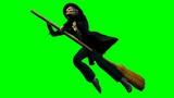 Befana su scopa volante su sfondo chroma key - 183962312