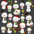 Christmas Snowman Vector Set