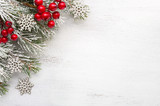 Fir branch with Christmas decorations on old wooden shabby background with copy space for text - 183967512