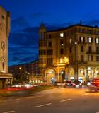 Evening traffic on the  picturesque downtown street, Port area of Savona, western Italian Riviera, Liguria region, Italy. - 183967759