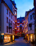 Old street  at dusk  in the historic center  of Bernkastel-Kues  (in   the background  Rathaus),  Rhineland-Palatinate, Germany. - 183968106