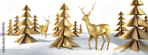Stilisierte goldene Rentiere und Bäume vor Weiß