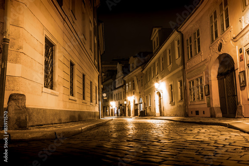 Tuinposter Praag Mysterious Prague with lanterns in at night