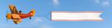 Flieger mit Banner Wolkenhimmel