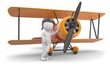 3d Männchen mit Flugzeug