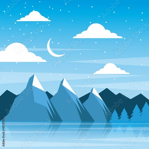 Aluminium Blauw night winter mountains moon clouds pine tree reflection vector illustration