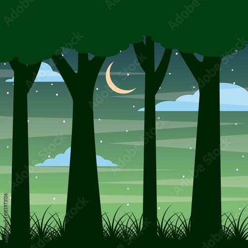 Plexiglas Olijf forest trunk of tree night landscape with moon and clouds vector illustration