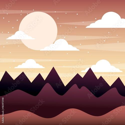 Deurstickers Beige sunset landscape mountains silhouette sky clouds vector illustration