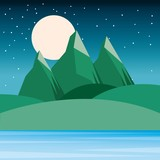 night landscape mountains hills moon and sky starry vector illustration - 183973308